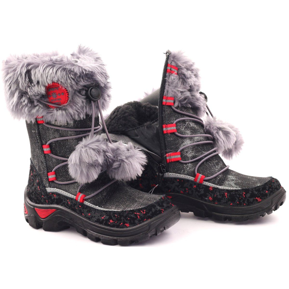 Bartek Kozaczki Z Pomponem Nieprzemakalne 24453 Czerwone Szare Czarne Winter Boot Shoes Boots
