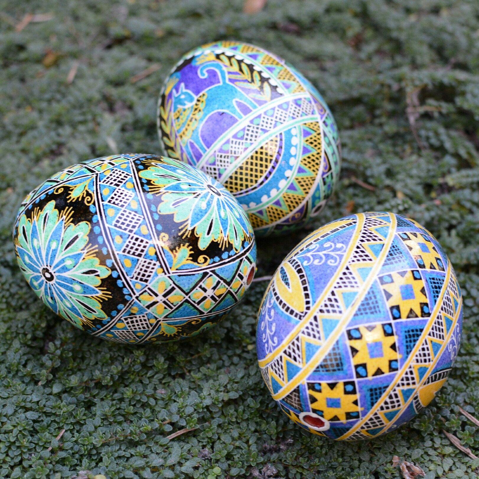 Ukrainian Pysanka Blue Easter Art Egg Hand Painted Ornaments