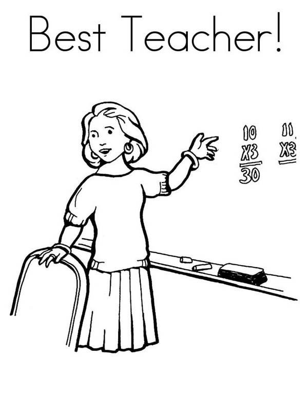 Teaching In Front Of Class In Community Helpers Coloring Page Netart In 2020 Community Helpers Coloring Pages Teacher Cartoon