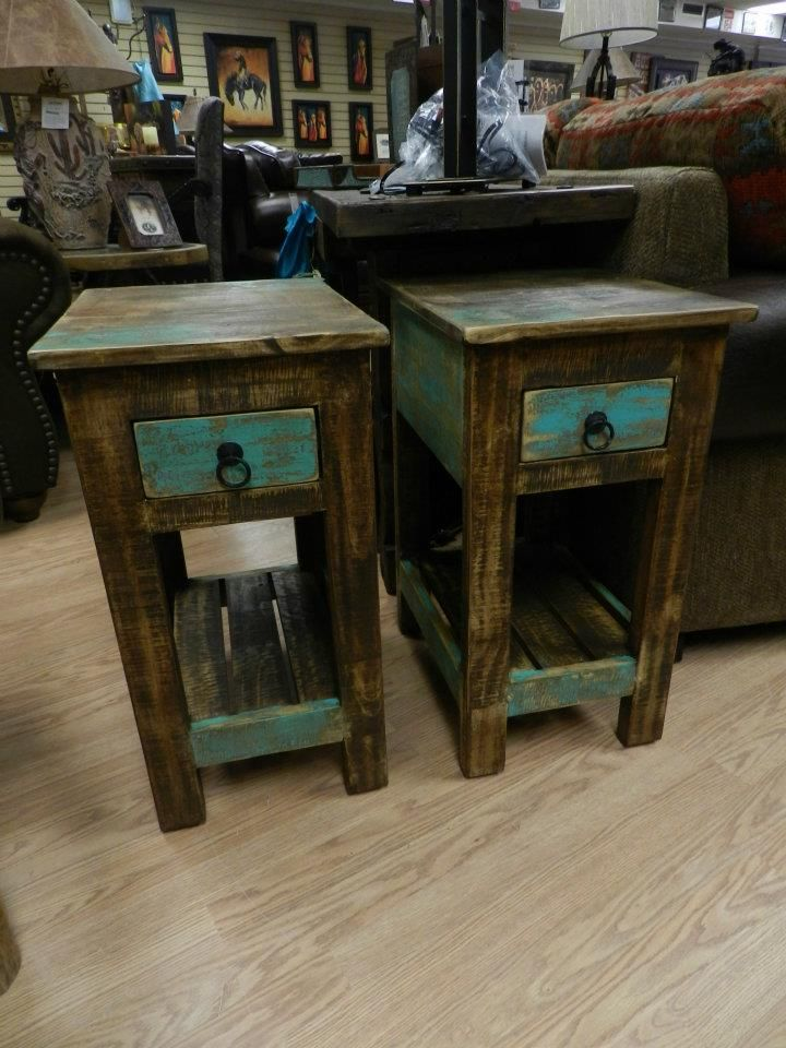 Gentil Night Tables / End Tables   Frontier Western Store. Love The Turquoise  Accent!