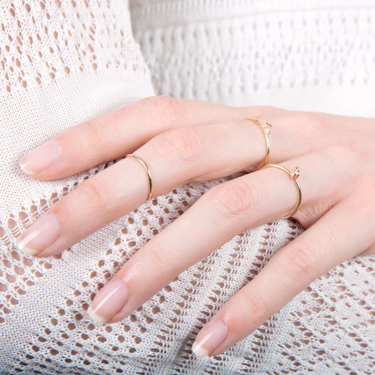 9ct Yellow Gold Midi Ring - Rocking Wishbone | Knuckle rings, Ring ...