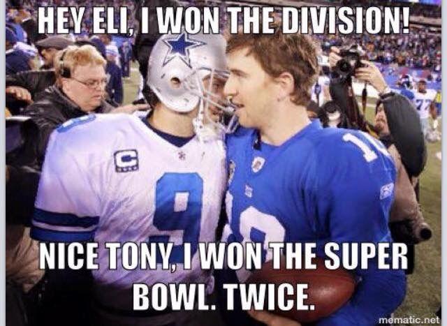 An Embrace Between Tony Romo Eli Manning New York Giants Football Giants Football New York Giants