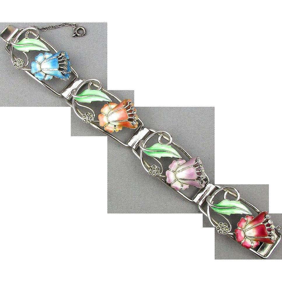 Art Deco Era Sterling Silver Enamel Bracelet Colorful Flowers w/ Marcasite