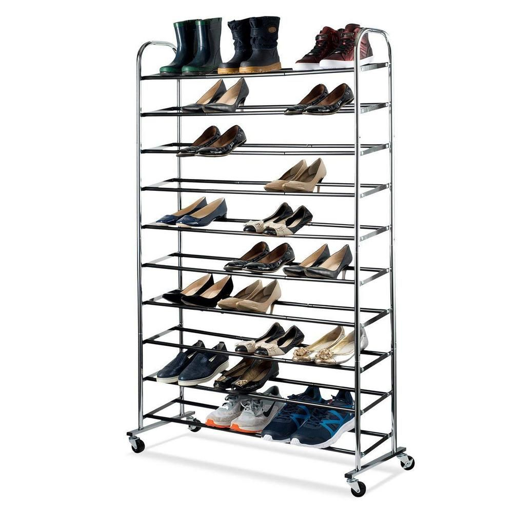 Home It 50 Pair Chrome Shoe Rack Organizer With Wheels Grey In 2019