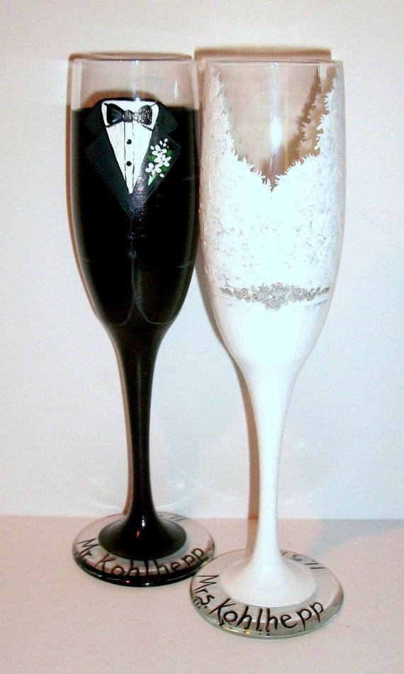 Bride And Groom Tux Wedding Dress Hand Painted Champagne Flutes Set Of 2 6 Oz Custom Made To Order Toasting