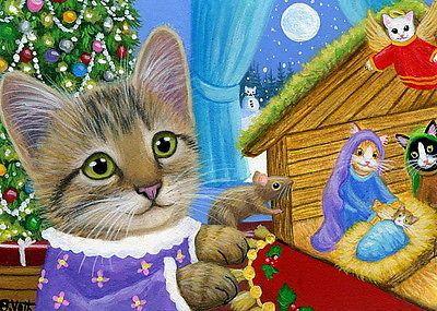 Gato Gatinho Cat Mouse Natal Árvore De Natal Neve Lua Pintura Original ACEO | Arte, Direto do artista, Pinturas | eBay!