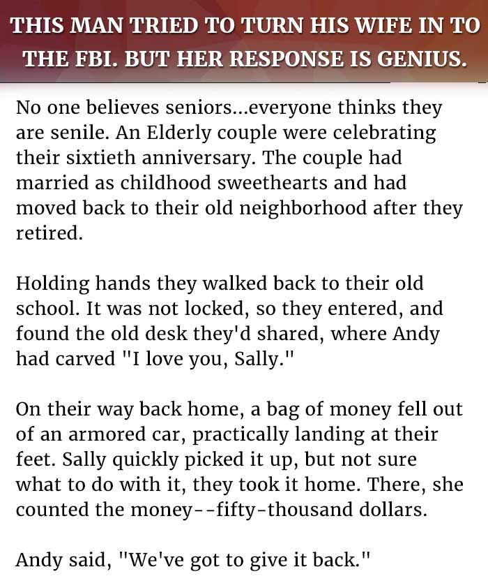 Husband Wife Jokes This Man Tried To Turn His Wife In To The Fbi But Her Response Is Genius Husband Humor Wife Jokes Latest Jokes