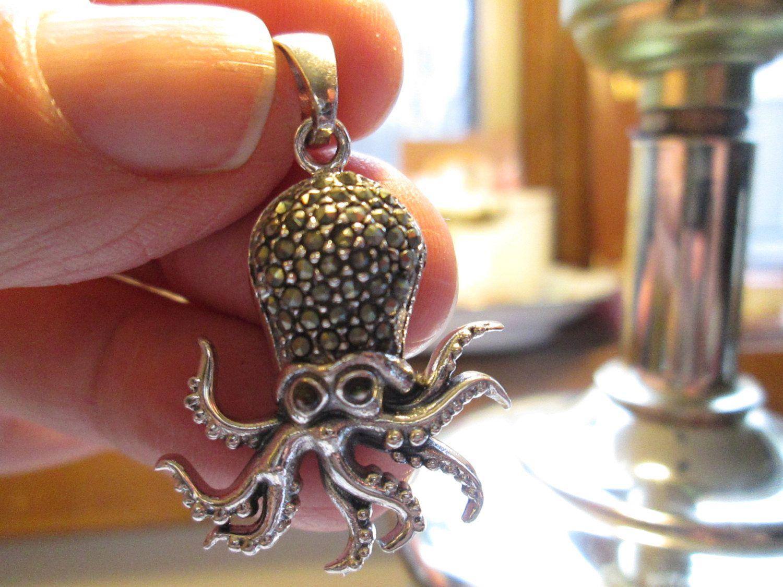 925 Sterling Silver Antique Jewelry Genuine Pave Diamond Octopus Pendant Unique Handmade Silver Diamond Pendant  Charm Necklace Fine Jewelry