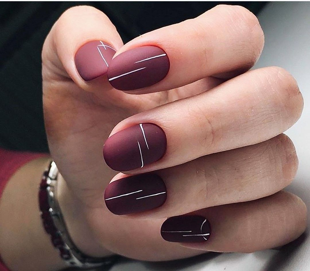 Matte Maroon Nails With White Minimalist Thin Line Art Re Pinned By Breanna L Follow Me And Never Miss A Cute Spring Nails Spring Nail Art Line Nail Art