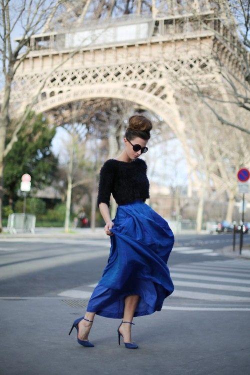 Parisian Chic. Bold Color + Neutral, High Bun, Bold Shades, Boatneck, Full skirt, Accentuated Waist.