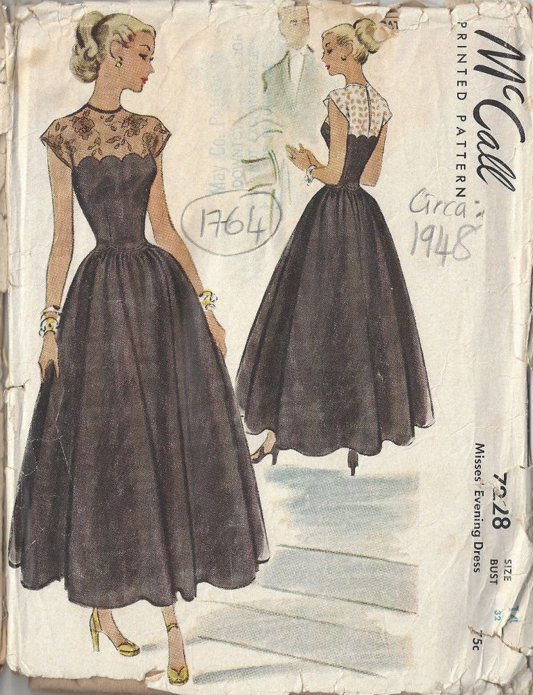 1948 Vintage Sewing Pattern B32 EVENING DRESS (1764) | So I Used to ...