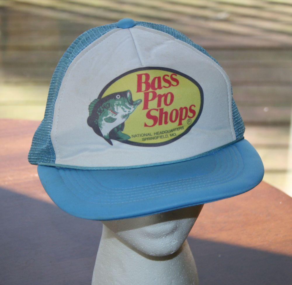 Vintage bass pro shops blue mesh snapback cap hat trucker for Fishing snapback hats