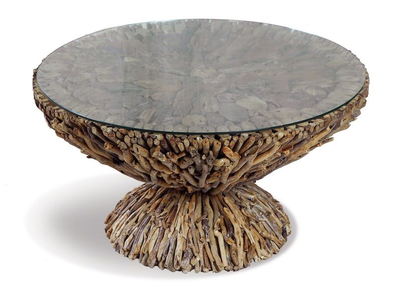Shoreline Driftwood And Glass Coffee Table