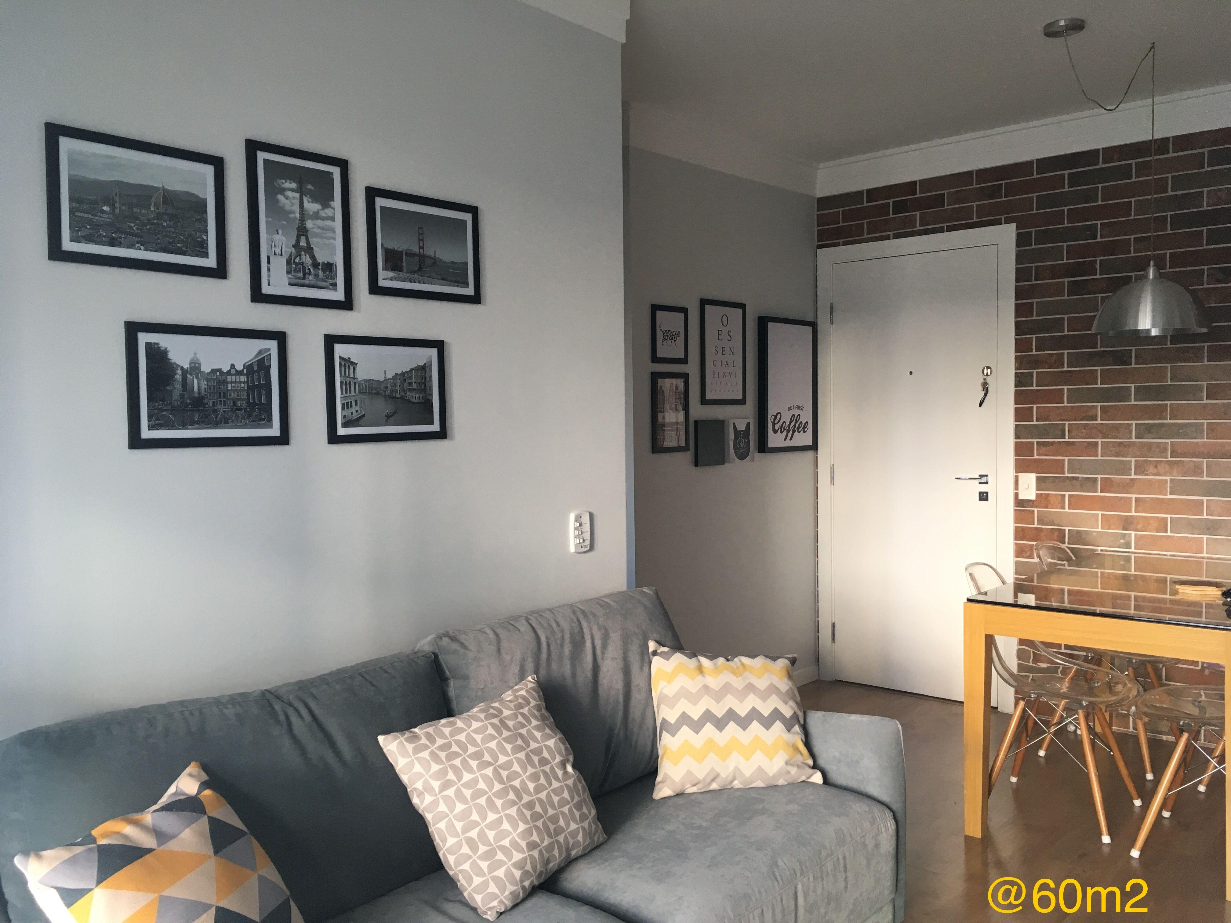 Sala Pequena Apartamento 60m2 Paredes Cinza Moldura De Gesso  -> Gesso Para Sala De Estar Pequena