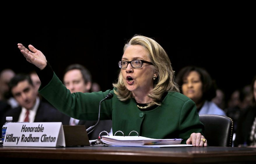 Secretary of State Hillary Rodham testifies on Capitol Hill in Washington, Wednesday, Jan. 23, 2013, before the Senate Foreign Relations…