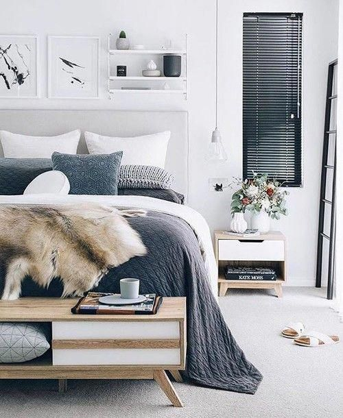 Modern Scandinavian Farmhouse Style Bedroom with Cozy Slate Blue Bedding and a Faux Fur Throw #bedroominspo #graybedroomwithpopofcolor