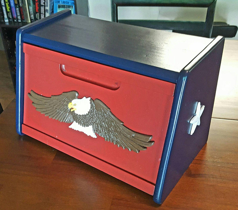 American Eagle red white blue BREAD BOX by Barnslaiy on Etsy
