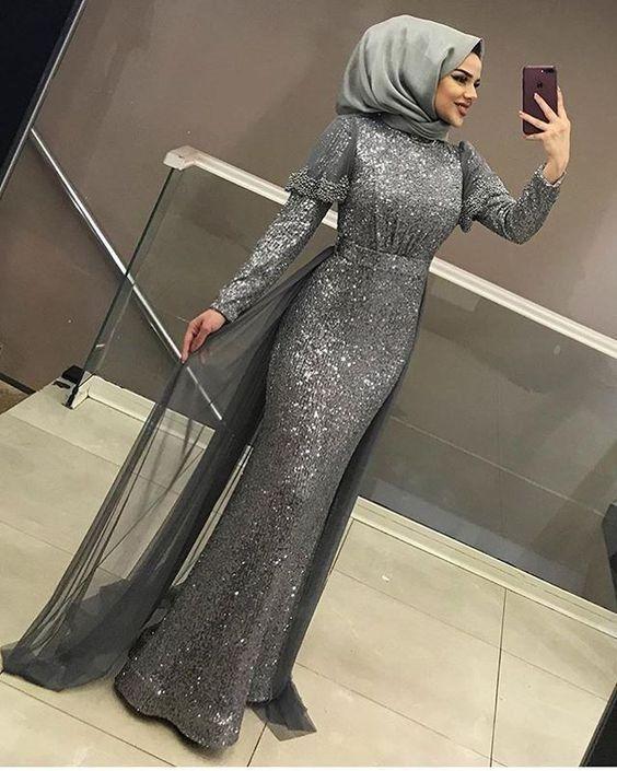 2019 Tesettur Abiye Elbise Modelleri Ve Fiyatlari Alimli Kadin Payet Elbise Elbise Modelleri Elbise
