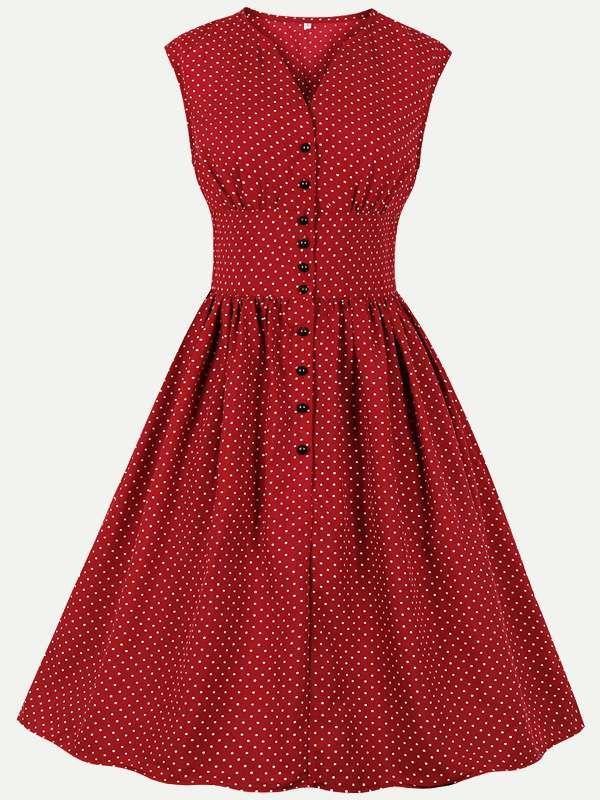 Womens 50s 60s Vintage Rockabilly Dress V Neck Polka Dots Print High Waist Sleeveless Swing Dress Retro Dresses  90S Fashion  80S Prom Dress Retro Dresses  90S Fashion  8...