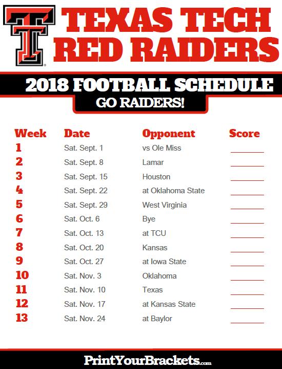 2018 Printable Texas Tech Red Raiders Football Schedule Texas Tech Texas Tech Football Texas Tech Red Raiders Football