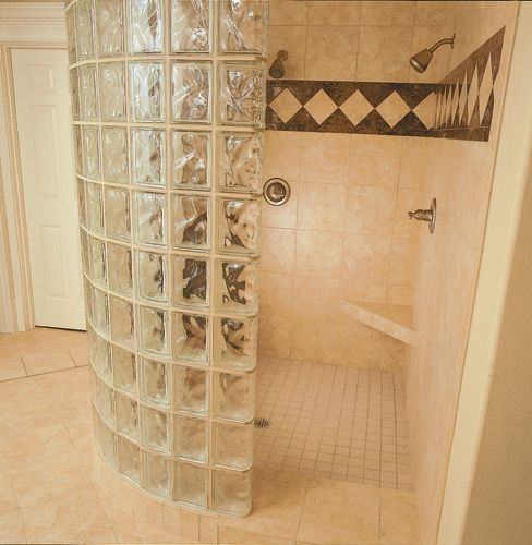 Walk In Door Less Radius Glass Block Shower Constructed With 6 X8 Decora Block From Pittsburgh Corning This Show Glass Block Shower Shower Wall Glass Shower