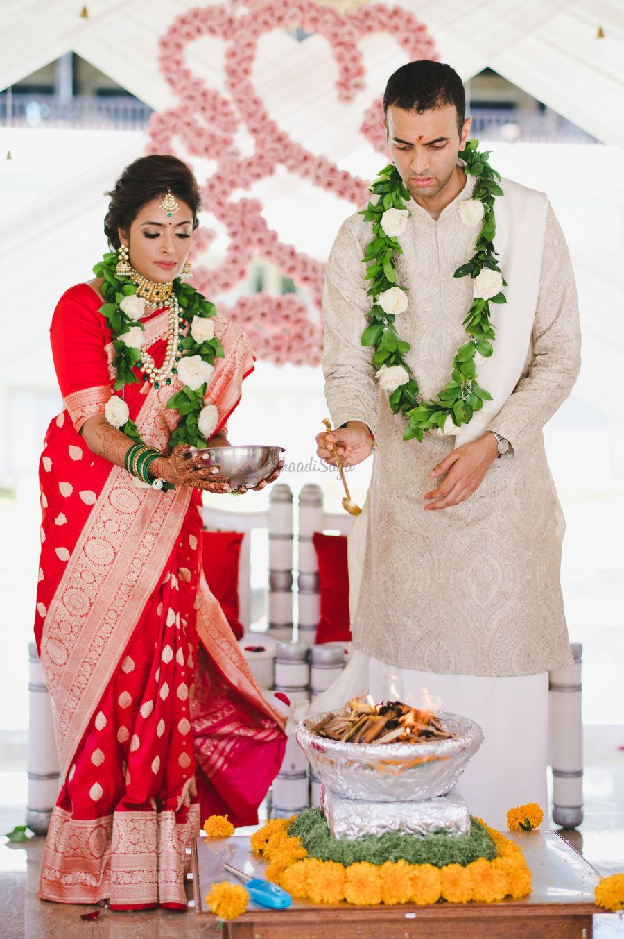 An Intimate Bali Wedding Where The Bride Wowed Us With Her Traditional Red Saree In 2021 Red Saree Wedding Saree Wedding Bali Wedding