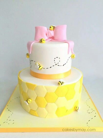 Bee Baby Shower Cake2 Bee Themed Party Cake Girl