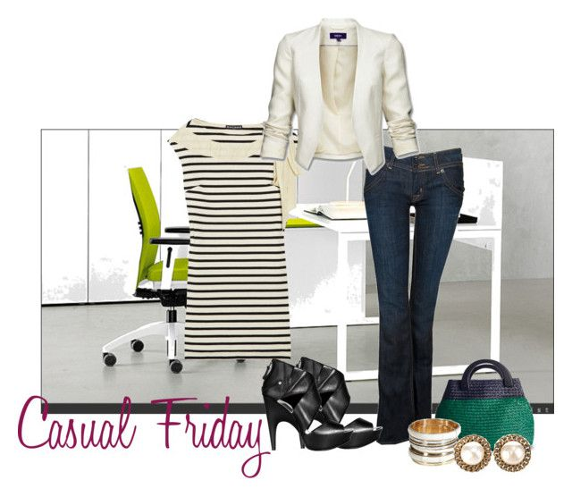 """""""Casual Friday"""" by koolkolourz on Polyvore featuring Hudson Jeans, Rochas, Mexx, COSTUME NATIONAL, Kelly & Katie, Antik Batik, Chanel, blazer, friday and jeans"""