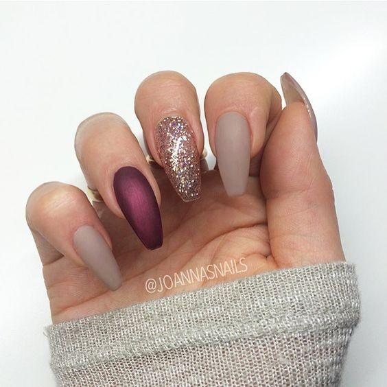 Acrylic Wine Nails Matte Nails Design Nail Designs Glitter Gorgeous Nails