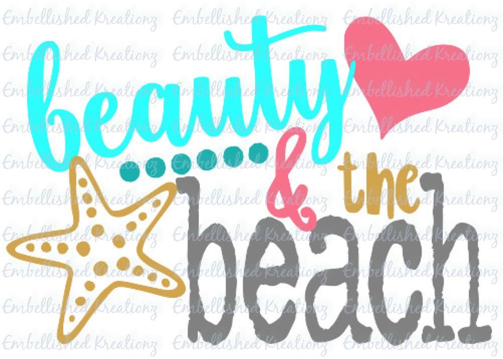 Beauty the beach with starfish vinyl decal car decal window decal wall