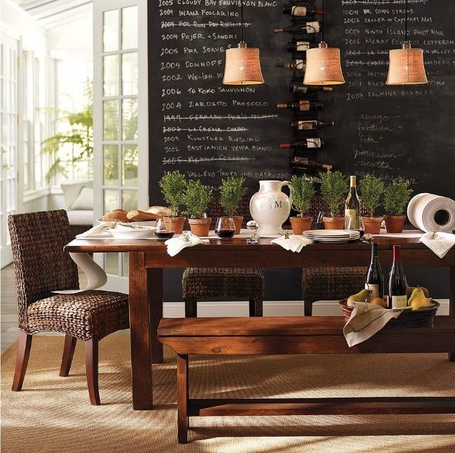 Fabulous Dining Room Love The Chalkboard Wall Wine Rack And