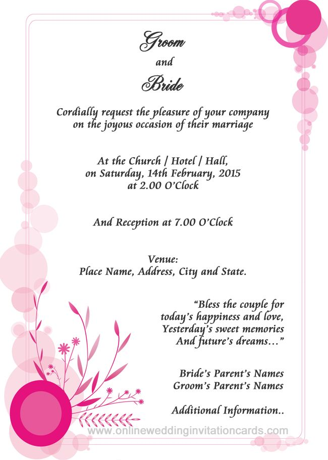 Wedding Invitation In English Wordings: Online Wedding Invitation Sample Examples Of Wedding