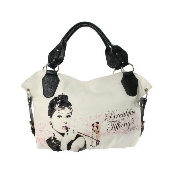 White Breakfast at Tiffanys Large Fashion Audrey Hepburn Tote Bag... via Polyvore