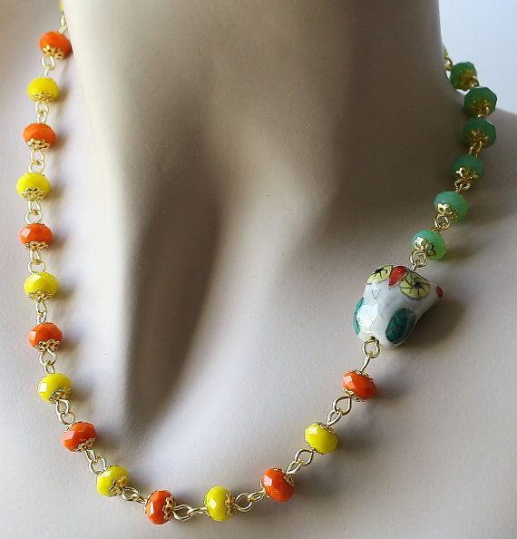 Orange Yellow and Owl Porcelain and Crystal  Necklace by Exgalabur, $22.00