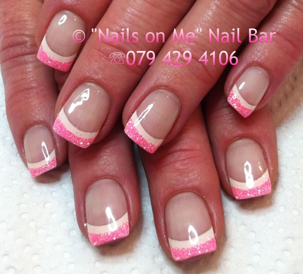Pink and white double french gel nails | nail designs | Pinterest ...