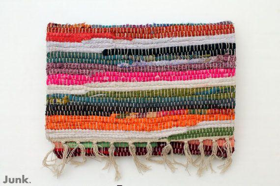 Oversized / multicolored / textile / boho chic / fringe / clutch / handbag