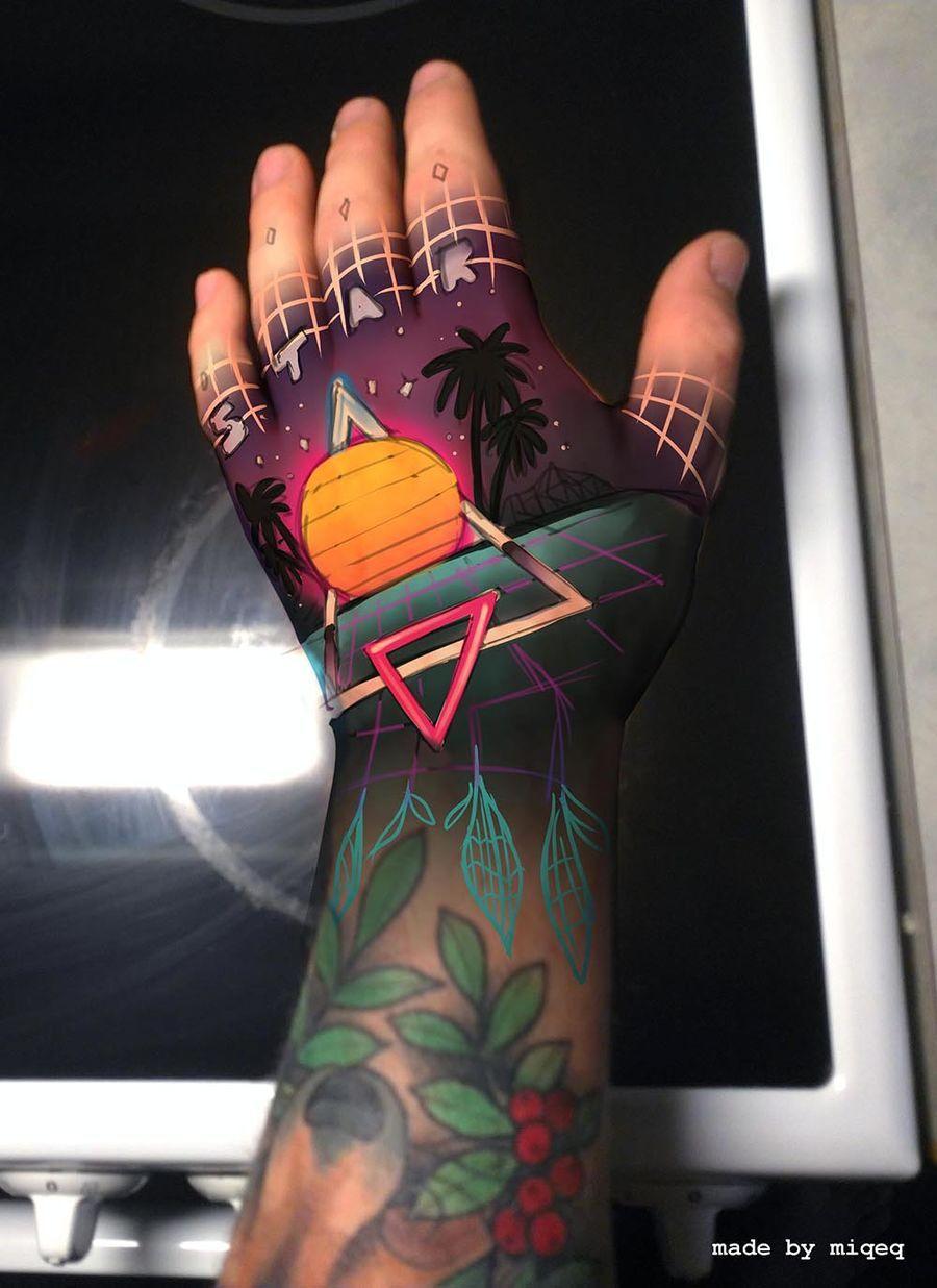 Contest Entry 57 For Tattoo Design 80s Neon Style Retro Tattoos Neon Tattoo Geometric Throat Tattoo