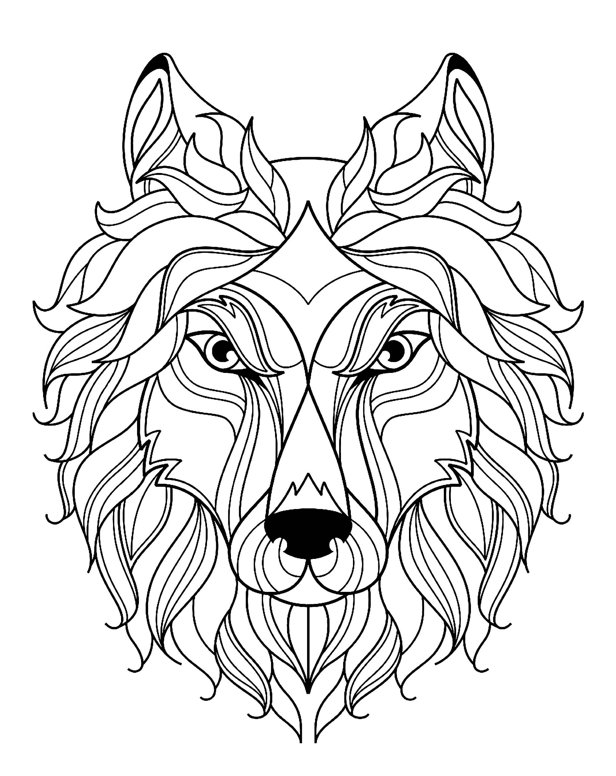 Big Wolf Head Simple Wolves Coloring Pages For Adults Just