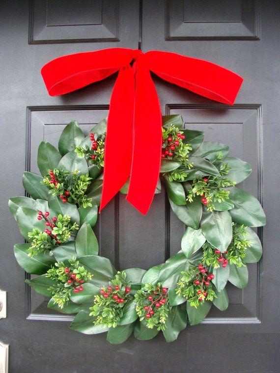 Photo of Magnolia leaf wreath, magnolia and boxwood Christmas wreath, winter door wreath, Christmas decoration, magnolia wreath, gift for her