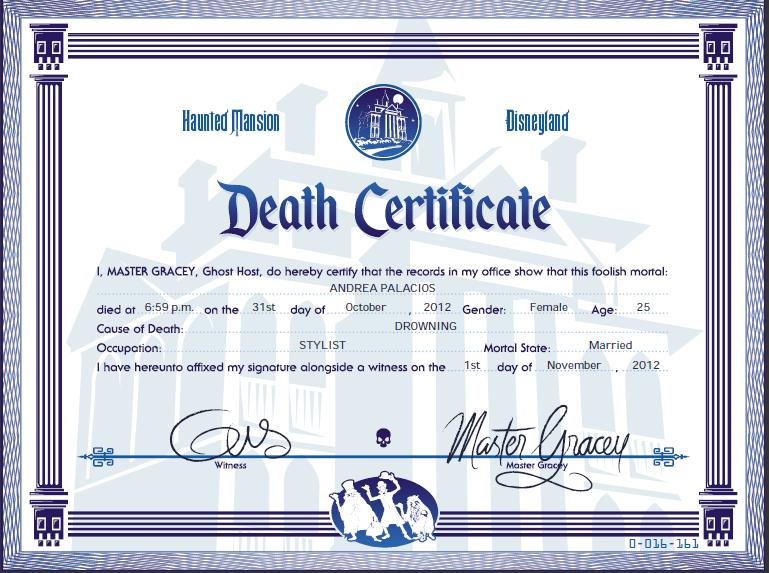 My Death Certificate Hauntedmansion I Love Disney Pinterest