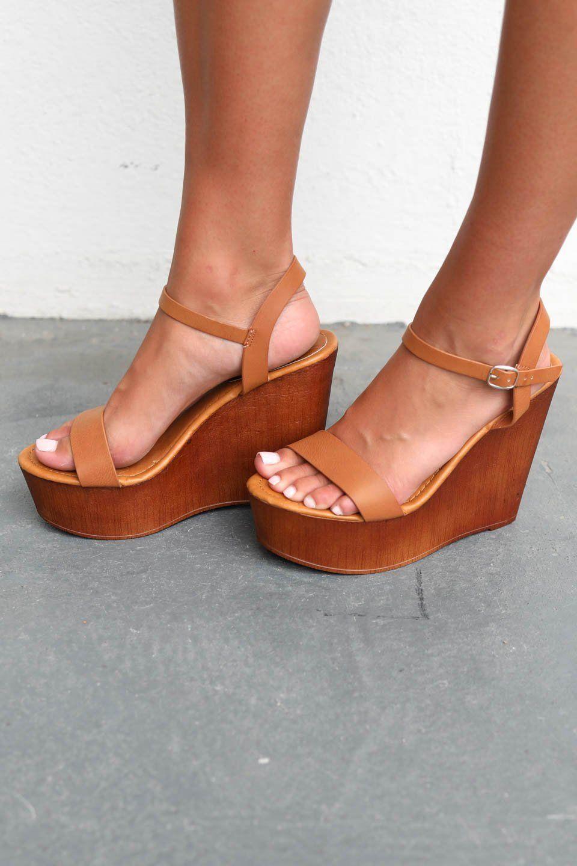 62df4d1b313 Deserve It Tan Wooden Platform Wedge Heels