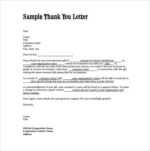 Thank You Letters For Gifts Download Free Documents Word Pdf