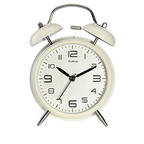 """Peakeep 4/"""" Twin Bell Alarm Clock with Stereoscopic Dial Backlight Loud Alarm"""