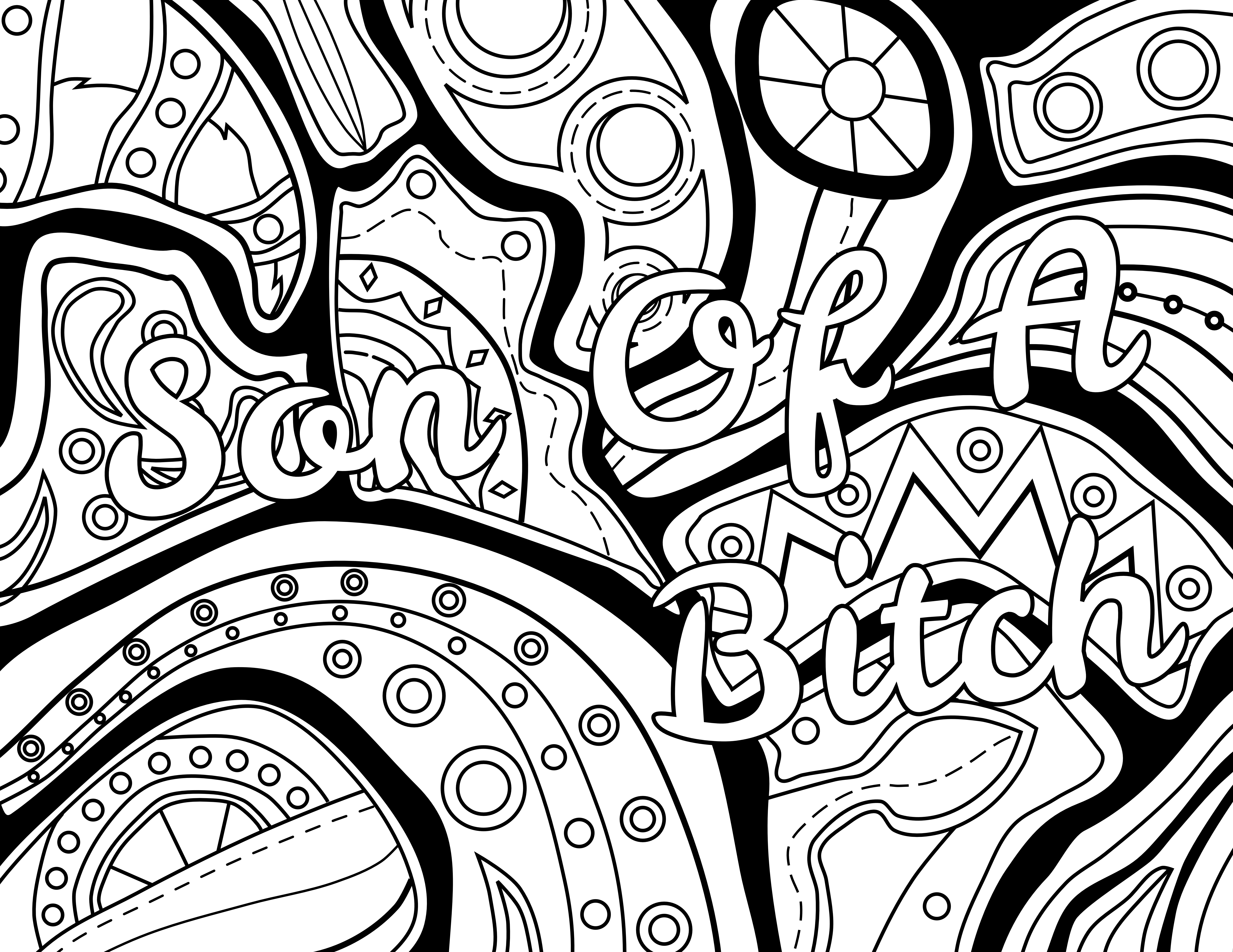 Swear word coloring book volume 1 - Son Of A Bitch Adult Coloring Page Color Swear Blackout Free Coloring Pages Comes From The Book Color Swear Blackout Available On Amazon