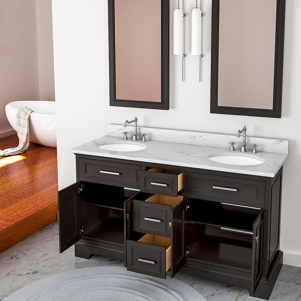 laxton 61 in w x 34 in h bath vanity in espresso with on replacement countertops for bathroom vanity id=83239