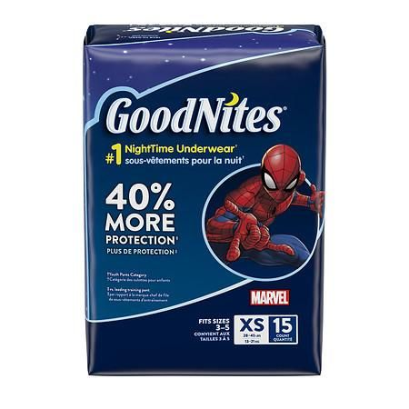 4 Packages XS GoodNites Bedtime Bedwetting Underwear for Girls 15 Count Packaging May Vary