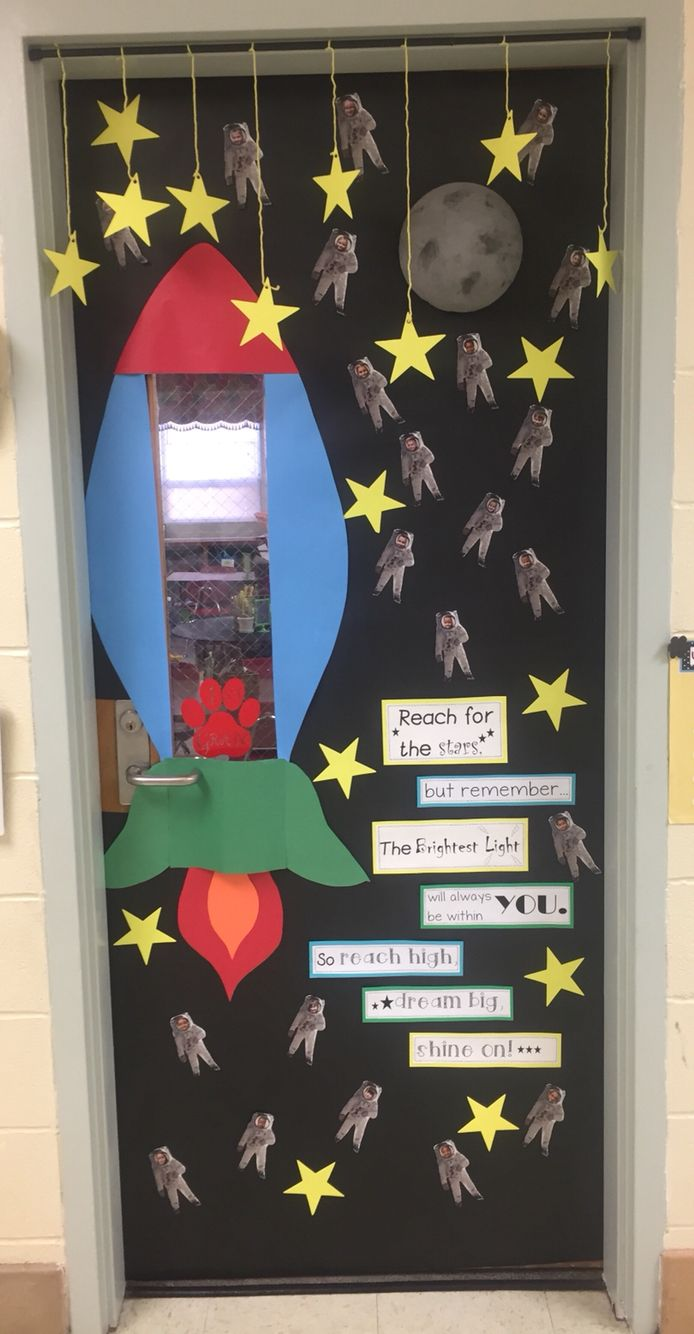 Classroom Decoration For Preschool ~ Nasa themed classroom door for our spacetacular steam unit