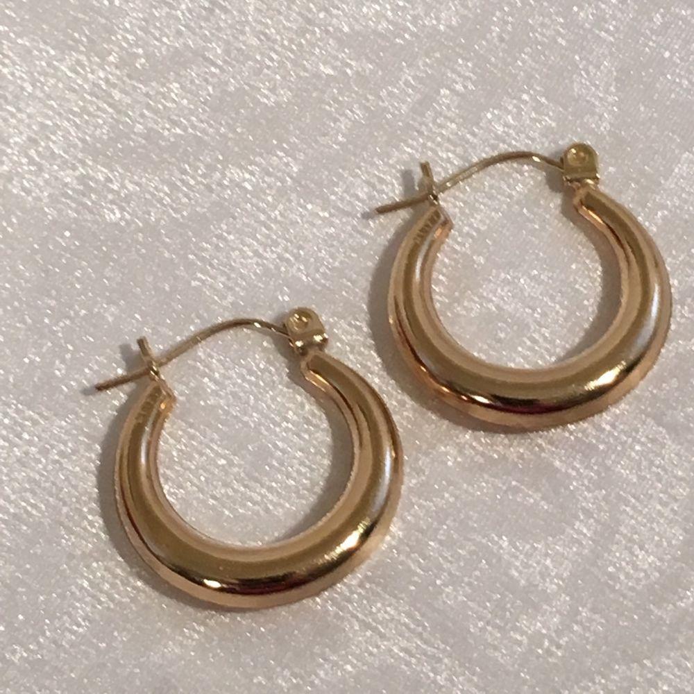 14k Gold Solid Yellow 585 Hoop Pierced Earrings Fine Jewelry Gift 1 2 Grams Zz