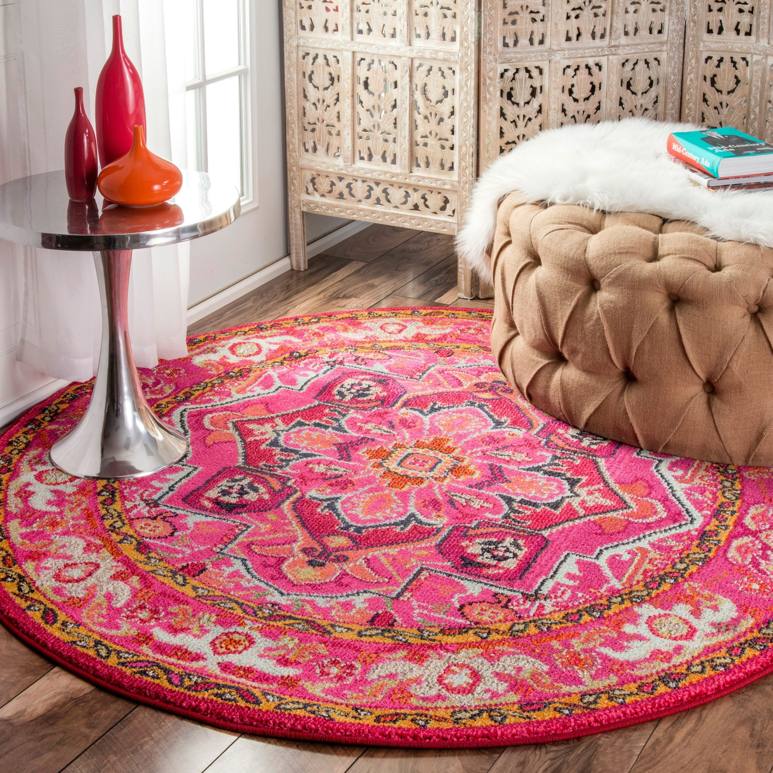 Pink Rugs For Living Room Nuloom Traditional Flower Medallion Violet Pink Round Rug 53
