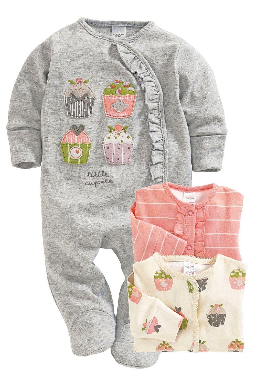 274d87d3035f1 Newborn Sleepwear - Baby Sleepwear and Infantwear - Next Cupcake Sleepsuits  Three Pack - EziBuy Australia